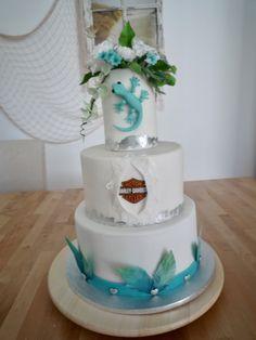 weddingcake white and turquoise gumpaste flowers gumpaste feathers harley davidson cake Fondant, Harley Davidson Cake, White Wedding Cakes, Gum Paste, Turquoise, Feathers, Desserts, Flowers, Food