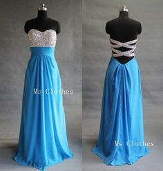 Custom Made Aline Rhinestone Long Blue Prom Dresses by MsClothes, $186.99