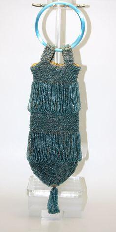 Beaded Deco Flapper wrist purse Blue Glass beads, crocheted cotton