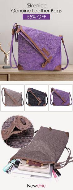 Brenice Retro Canvas Casual Genuine Leather Shoulder Bag Crossbody Bag For Women #BreniceBags #RetroCanvasBags #MessagerBags #GenuineLeatherShoulderBags
