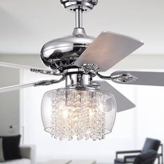 Ennie Chrome Lighted Ceiling Fans with Glass and Crystal Shade (remote controlled), Gray, Warehouse of Tiffany Ceiling Fan Chandelier, Ceiling Fans, Ceiling Lights, Chandelier Ideas, Chandeliers, Bedroom Fan, Master Bedrooms, Master Bathroom, Modern Farmhouse Lighting