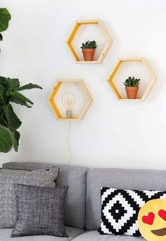 3 Wooden Hexagon Shelves Handmade Tutorial | My Home Decor Guide