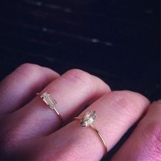 @BingBangNyc - Tiny Baguette Ring & Tiny Marquis Rings. Delicate, elegant, perfect skinny stacking rings...