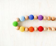Rainbow Nursing necklace Mommy natural Teething necklace   by kangarusha