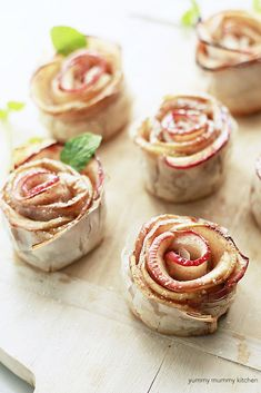 Beautiful baked apple pastry roses made with phyllo dough. These healthier apple roses are vegan and made with date caramel sauce. They are a beautiful holiday dessert or anytime dessert!