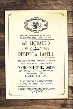 Art DecoVintage Retro Save the Date Ticket Announcement