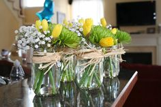 Mason jar flower favors for Angela's baby shower
