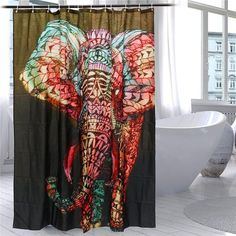Modern Elephant Printing Shower Curtain Waterproof Mildewproof Polyester Fabric Bath Curtain Bathroom Product With 12 Hooks Gift
