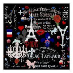 Modern Paris French black cologne Label