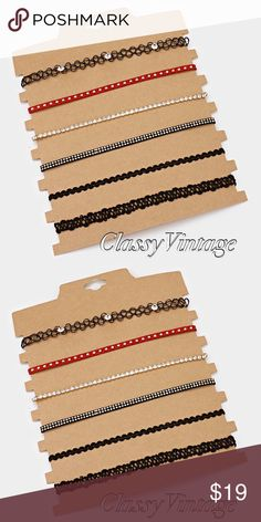 One package of 6 chokers. Mixed tattoo and faux studded suede. 6 different necklaces to mix and match. boutique Jewelry Necklaces