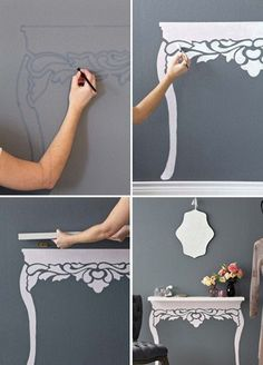 Stencil on the wall that looks like a table or desk, then a shelf to hold things as the top surface.