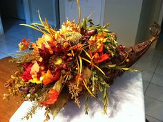 Fall Cornucopia Silk Floral Arrangement by GreatwoodFlorals