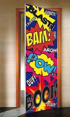 Excellent simple ideas for your inspiration Cool Kids Bedrooms, Awesome Bedrooms, Bedroom Door Decorations, Kids Wall Decor, Boys Bedroom Decor, Superhero Door, Boy Room, Kids Room, Door Murals