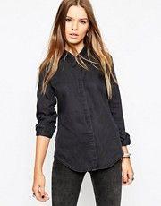 ASOS Denim Shirt in Washed Black With Sharp Collar