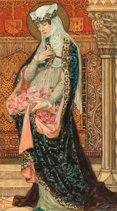 Elisabeth Sonrel - Art Nouveau - Portrait of a Renaissance woman holding roses Art Et Illustration, Illustrations, Art Nouveau, Art Deco, Art Magique, Foto Fantasy, Renaissance Kunst, Pre Raphaelite, Classical Art