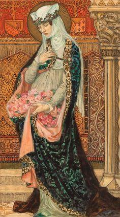 Elisabeth Sonrel - Art Nouveau - Portrait of a Renaissance woman holding roses Art Et Illustration, Illustrations, Art Nouveau, Art Deco, Art Magique, Foto Fantasy, Renaissance Kunst, Pre Raphaelite, Classical Art