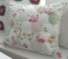 Lovely hexi quilted pillow.