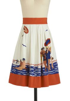 Sunday Diving Skirt by Eva Franco - Orange, White, Blue, Novelty Print, Bows, A-line, Multi, Casual, Summer, Print, Mid-length