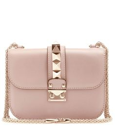 Lock Small dusty pink leather shoulder bag