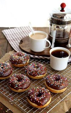 Coffee + Chocolate sprinkled donuts