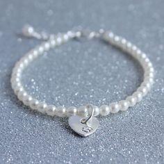 Bridesmaids Personalised Heart Pearl Bracelet