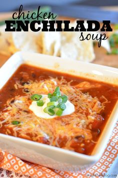 This Chicken Enchilada Soup is so tasty and a great, easy alternative to all the work that goes into traditional enchiladas!