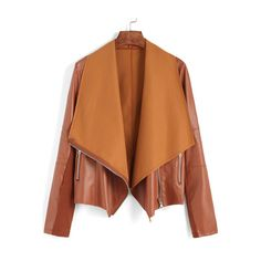 Khaki Lapel Oblique Zipper Crop Jacket ($23) ❤ liked on Polyvore featuring outerwear, jackets, brown cropped jacket, zip jacket, lapel jacket, zipper jacket and khaki jacket