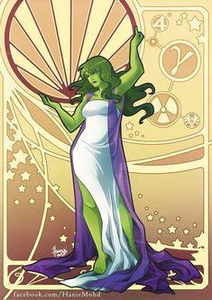 Superhero Ladies in Alphonse Mucha Art Nouveau Style. She Hulk Comic Book Characters, Comic Character, Comic Books Art, Comic Art, Art Nouveau, Art Deco, Captain Marvel, Hulk Marvel, Ms Marvel