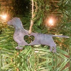 Rustic Dachshund Steel Christmas Ornament #Dachshund