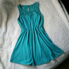 Blue Lace Spring/Summer Dress Falls above the knee. Worn twice for a couple of spring  weddings! In great shape. Color may be slightly off due to lighting. Dresses Mini