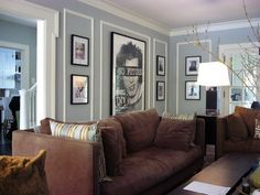 See Dining Room pic :  Inner molding paint – Sabre Gray-Benjamin Moore Ext. molding – Cos Cob Stonewall-Benjamin Moore