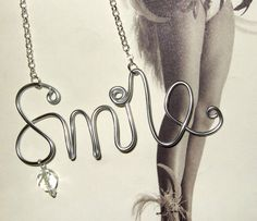 Smile Necklace Ladies Wire Word Jewelry Quirky by flonightingales, £7.00
