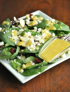 Honey Dijon Vinaigrette: pair this delicious homemade honey mustard dressing with crisp baby spinach, dried cranberries, sliced almonds, and crumbled feta.