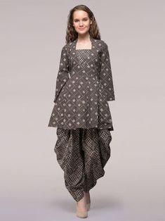 Grey Dabu Printed Cotton Tunic with Dhoti Pants - Set of 2 Kurta Designs Women, Kurti Neck Designs, Salwar Designs, Dhoti Salwar Suits, Salwar Dress, Churidar, Patiala, Frock Fashion, Fashion Pants