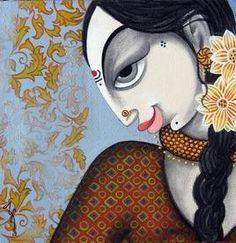 Face - 17 - Painting by Varsha Kharatmal