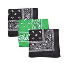 3cf3d5fea6e Set of 3 Mechaly Paisley 100% Cotton Black   Green Vegan Bandanas Scarves