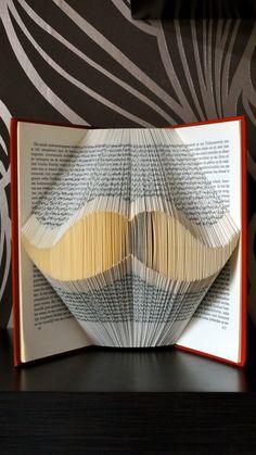 Folded Book Art - Mustache - Unique present