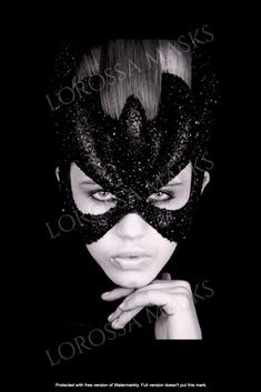 """Handcrafted Woman Mask """"Black Queen"""" - Unique Mask Design made with love, Papier Mâché and Bugle Glass Beads, Exclusive, Styling accessory, Art Leg Tattoos Women, Best Tattoos For Women, Greek Wedding Dresses, Bat Mask, Paper Mache Animals, Animal Masks, The Blushed Nudes, Pretty Designs, Black Queen"""