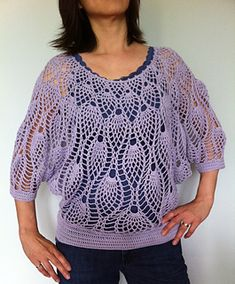 I am swooning over this dolman-sleeve pineapple top! AND I even have the pattern -- in addition to being on this Japanese site, it's also in Vogue Knitting Crochet 2013 (it's on the cover!).