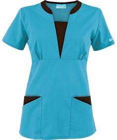 Style # Turquoise w/ Coffee Bean: Butter-Soft Scrubs by UA™ Contrast V-Neck Scrub top Cute Nursing Scrubs, Buy Scrubs, Scrubs Pattern, Stylish Scrubs, Beauty Uniforms, Scrubs Outfit, Medical Scrubs, Nurse Scrubs, Work Uniforms