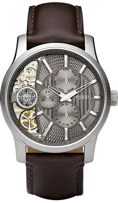 Fossil Men's ME1098 Brown Leather Strap Textured Taupe Cutaway Analog Dial Chronograph Watch < $111.96 > Fossil Watch Men