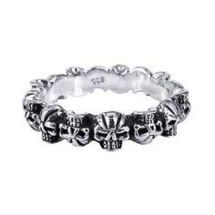Fierce Mini Skulls Band Sterling Silver Ring (Thailand)