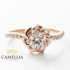 14K Rose Gold Diamond Engagement Ring 0.40ct Natural Diamond