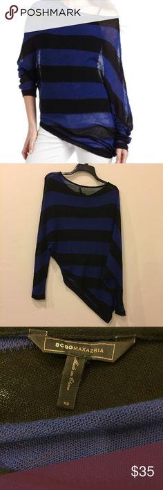 BCBG MaxAzria Karlie sweater, blue/black, size XS Excellent condition BCBG MaxAzria blue and black striped asymmetrical Karlie sweater, size extra small. BCBGMaxAzria Tops Tees - Long Sleeve