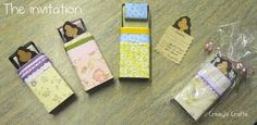 Using matchboxes to create invitations for a slumber party!  So creative!