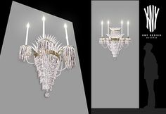 The hanging crystal detail of this elegant silver wall light is sure to be an eye catcher in any room. Modern Swarovski crystal lighting made by Kny Design Austria Wall Lamps, Wall Lights, Ceiling Lights, Silver Walls, Catcher, Austria, Swarovski Crystals, Sconces, Chandelier