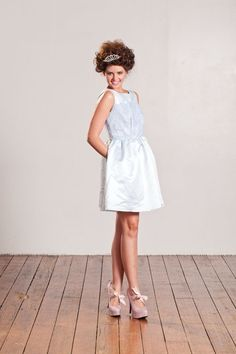 https://www.cityblis.com/item/1771  Her Royal Grace Tea Dress - $527 by Begitta  This divine ice blue tea dress with delicate Chantilly style lace applique on bodice is such a sweet little piece, so graceful and elegant & with its darling little pockets it means you can stow away your pretty little treasures.  #