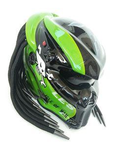 Love this Predator Helmets Street Fighter Dot Approved. You can custom your own predator helmet design #predatorhelmets #predatormotorcyclehelmet #alienpredatorhelmet