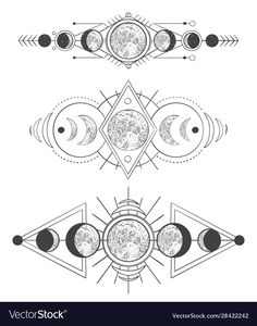Moons phases in mystic sky. Mother moon, hand drawn pagan tattoo or sketch wicca. - Moons phases in mystic sky. Mother moon, hand drawn pagan tattoo or sketch wicca moon goddess vector - Heidnisches Tattoo, Occult Tattoo, Tattoo Mond, Tattoo Drawings, Tiny Tattoo, Tattoo Flash, Tattoo Sketches, Goddess Symbols, Occult Symbols