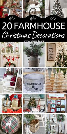 20 Amazing farmhouse Christmas decorations you need to see! These farmhouse Christmas decorations are so beautiful! Frugal Christmas, Christmas Porch, Farmhouse Christmas Decor, Country Christmas, Christmas Projects, Winter Christmas, All Things Christmas, Holiday Crafts, Christmas Holidays